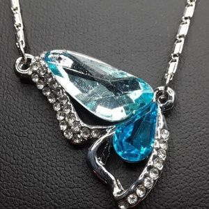 Silver Tone, Turquoise Crystal Butterfly Necklace